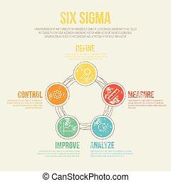 項目管理, 六, -, 插圖, 圖形, 矢量, 樣板, 西格瑪