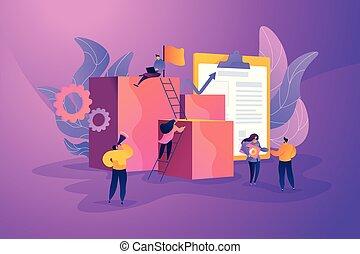 項目管理, 概念, illustration., 矢量