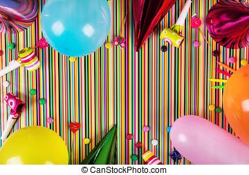 項目, 上, space., birthday, 背景, パーティー, しまのある, コピー, 光景