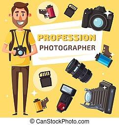 項目, 写真カメラ, カメラマン