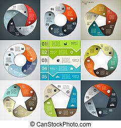 項目, 現代, 矢量, 事務, infographics