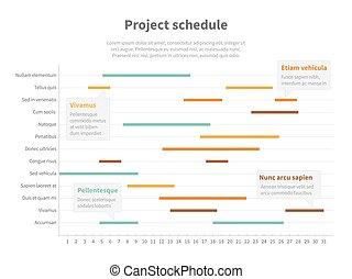 項目, 計劃, 時間表, 圖表, 由于, 活動時間表, gantt, 進展, 矢量, 圖表