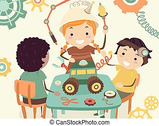 項目, steampunk, 孩子, stickman, 插圖