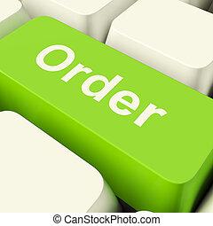 預訂, 計算机鑰匙, 在, 綠色, 顯示, 在網上, 購買, 以及, 購物