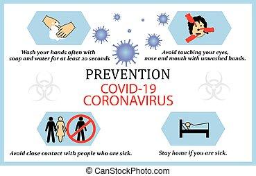 預防, coronavirus, 正文, 矢量, infographic, infection.