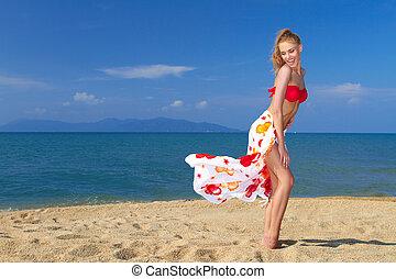頑皮, 片刻, 由于, a, 相當, 白膚金髮, 在海灘上
