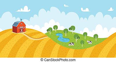 領域, 農村, seamless, 母牛, 鄉村的地形, 穀倉