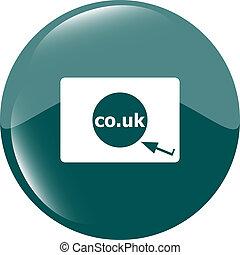 領域, co.uk, 簽署, icon., 英國, 網際網路, subdomain, 符號