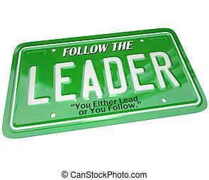 領導人, -, 牌照, 詞, 領導, 頂部, 經理