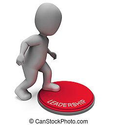 領導, 按鈕, 意味著, 位置, ......的, 影響, 或者, 權力