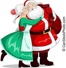 頬, claus, 接吻, ∥夫人∥, santa, 抱擁