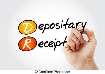 頭字語, レシート, -, depositary, マーカー, dr
