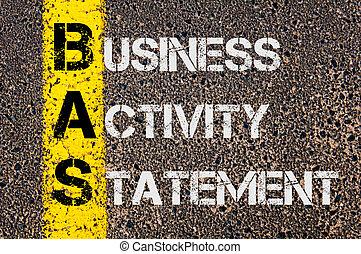 頭字語, 声明, bas, ビジネス, 活動