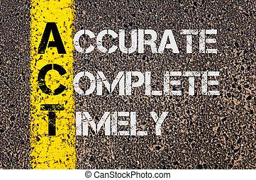 頭字語, 完了しなさい, timely, ビジネス, 行為, 正確
