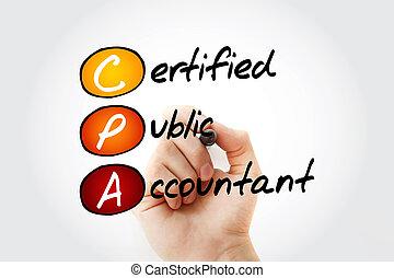 頭字語, cpa, -, 会計士, 公衆, 証明される