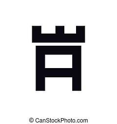 頭文字, ベクトル, テンプレート, ロゴ, 城, 要塞