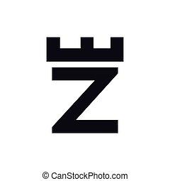 頭文字, ベクトル, テンプレート, ロゴ, 城, z, 要塞