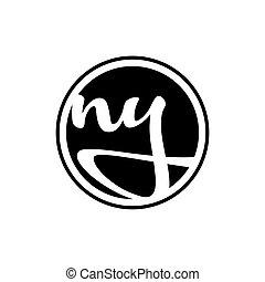 ny logo illustration ny 挨拶 暗い 優雅である ヨーク