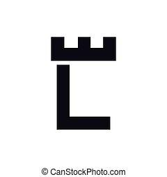 頭文字, l, ベクトル, テンプレート, ロゴ, 城, 要塞
