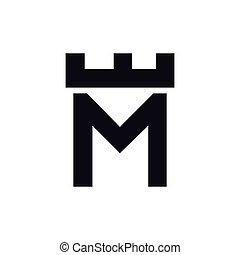 頭文字, m, ベクトル, テンプレート, ロゴ, 城, 要塞
