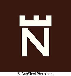 頭文字, n, ベクトル, テンプレート, ロゴ, 城, 要塞