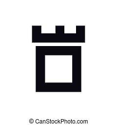 頭文字, o, ベクトル, テンプレート, ロゴ, 城, 要塞
