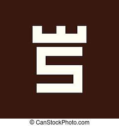 頭文字, s, ベクトル, テンプレート, ロゴ, 城, 要塞