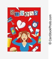 頭痛, パニック, ストレス, 仕事, poster., illustration., 要因, 同情, 問題, アイコン, 囲まれた, 特徴, ベクトル, 女, 健康, 女性, 痛み, fatigue.