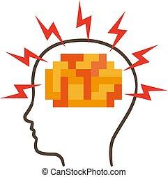 頭痛, ベクトル, イラスト, アイコン