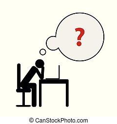 頭痛, 彼の, ビジネス, ストレス, 使い果たされた, 概念, pictogram, 焼損, 机, 憂うつ, 人