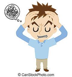 頭痛, 持つ, 若者
