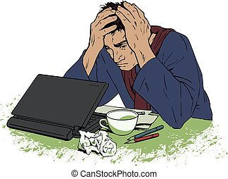 頭痛, 絶望, モデル, 人, computer.