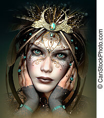 頭飾り, 3d, cg, vivi, マスク, ファンタジー