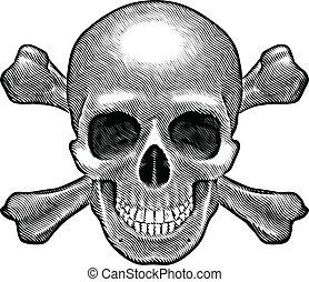 頭骨 と 骨が交差した図形, 数字