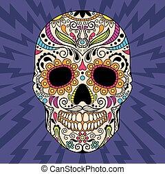 頭骨, オリジナル, ベクトル, pattern., メキシコ人