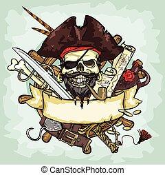 頭骨, スペース, テキスト, 海賊, ベクトル, イラスト, ロゴ, デザイン