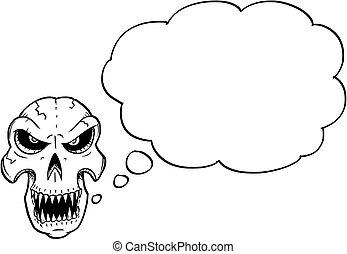 頭骨, ハロウィーン, イラスト, 漫画, スピーチ, 図画, 泡, ∥あるいは∥, 空