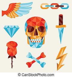 頭骨, 以及, 元素, 由于, 上色, 幾何學, design.