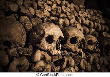 頭骨, 以及, 骨頭, 在, 巴黎, 地下墓穴