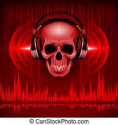 頭骨, 在, headphones., 迪斯科, 背景