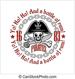 頭骨, -, 愉快なroger, 帽子, 海賊