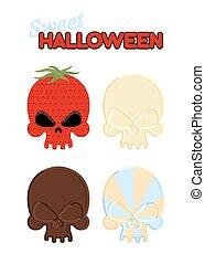 頭骨, 甘い, halloween., セット