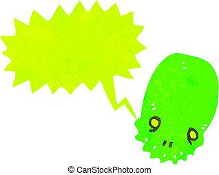 頭骨, 白熱, 緑, レトロ, スピーチ泡, 漫画
