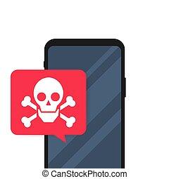 頭骨, 脅威, smartphone, malware, スピーチ, crossbones, モビール, illustration., messages., ベクトル, 泡, screen., スパムしなさい