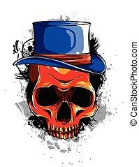 頭骨, 葉巻き, 頭, tattoo., ベクトル, 帽子, ギャング, 死