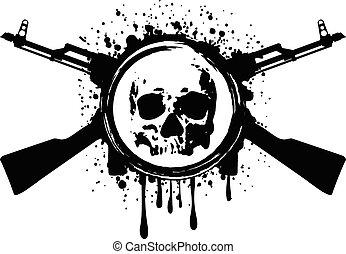 頭骨, akm, 血