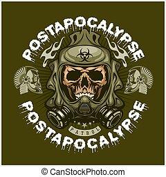 頭骨, tシャツ, post-apocalypse, 腕, コート, grunge., デザイン, 型, 産業