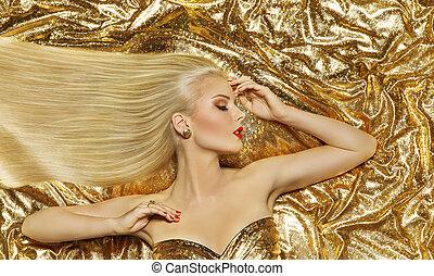 頭髮麤毛交織物風格, 模型, 時裝, 長, 直接, 發型, 婦女, 上, 金, 布