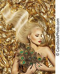 頭髮, 波浪, 時髦模型, 黃金, 發型, 美麗的婦女, 長, 金髮, 上, 金, 顏色, 織品
