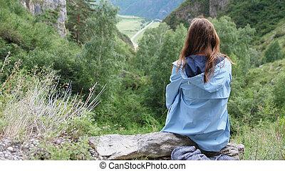 頭髮, 背景, 年輕, 坐, 飛行, 婦女, 山